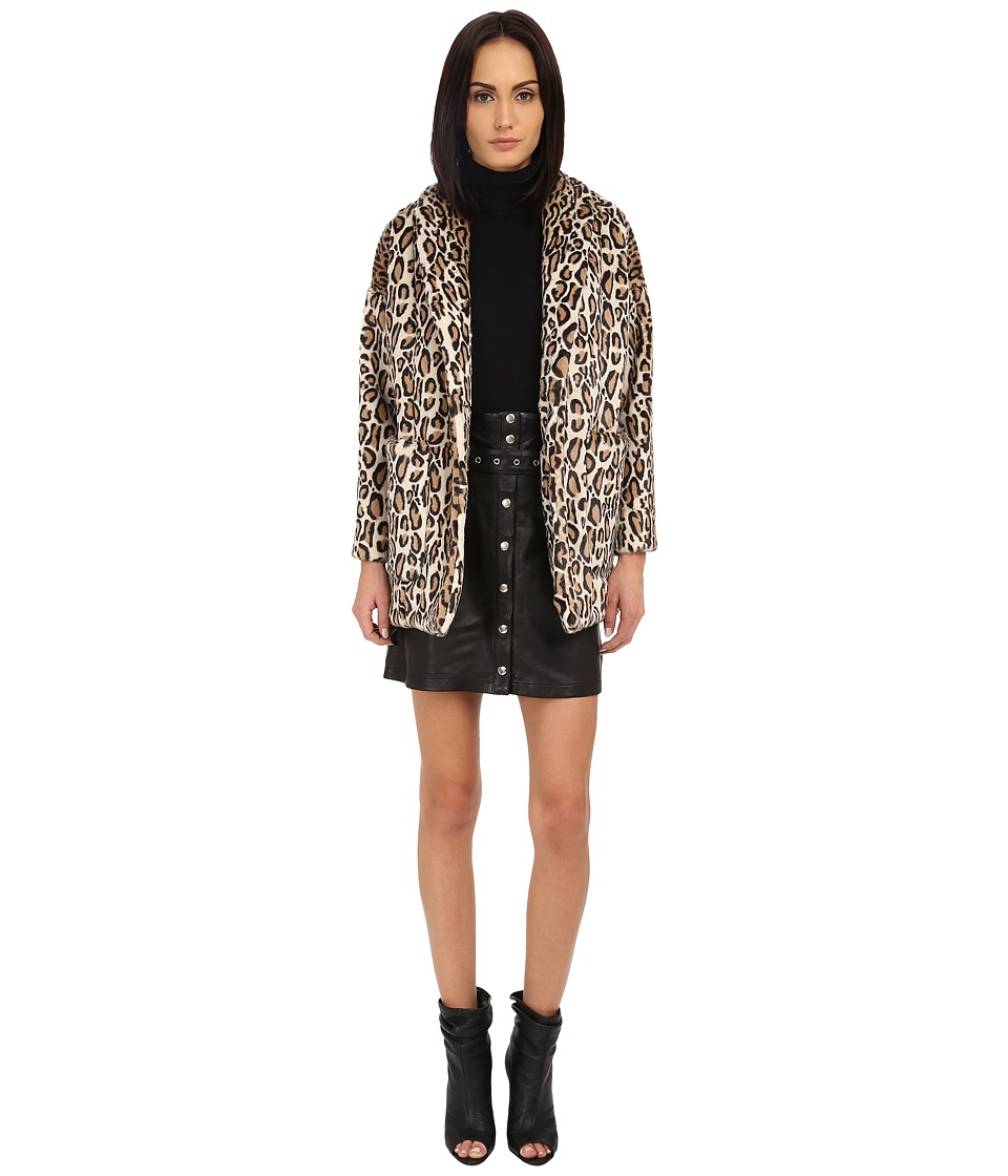 The Kooples - Fake Fur Leopard Print Coat (Black) Women's Coat