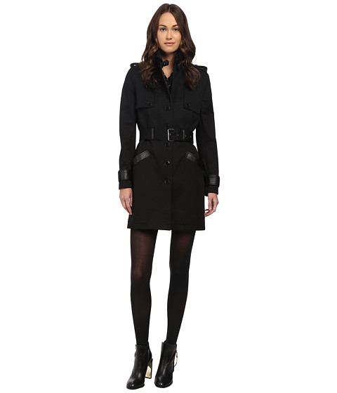 The Kooples - Double-Breasted Trench Coat (Black) Women's Coat