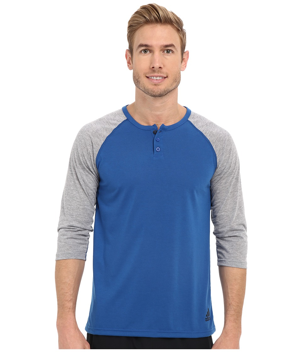 adidas - Ultimate 3/4 Sleeve Henley (EQT Blue/Medium Grey Heather/Black) Men's T Shirt