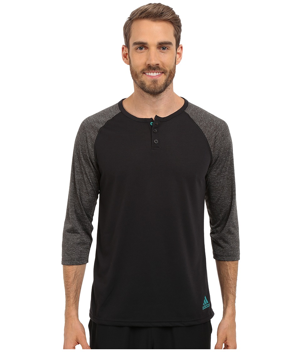 adidas - Ultimate 3/4 Sleeve Henley (Black/Dark Grey Heather/EQT Green) Men's T Shirt