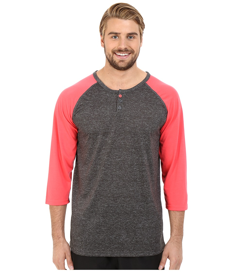 adidas - Ultimate 3/4 Sleeve Henley (Dark Grey Heather/Shock Red/Black) Men's T Shirt