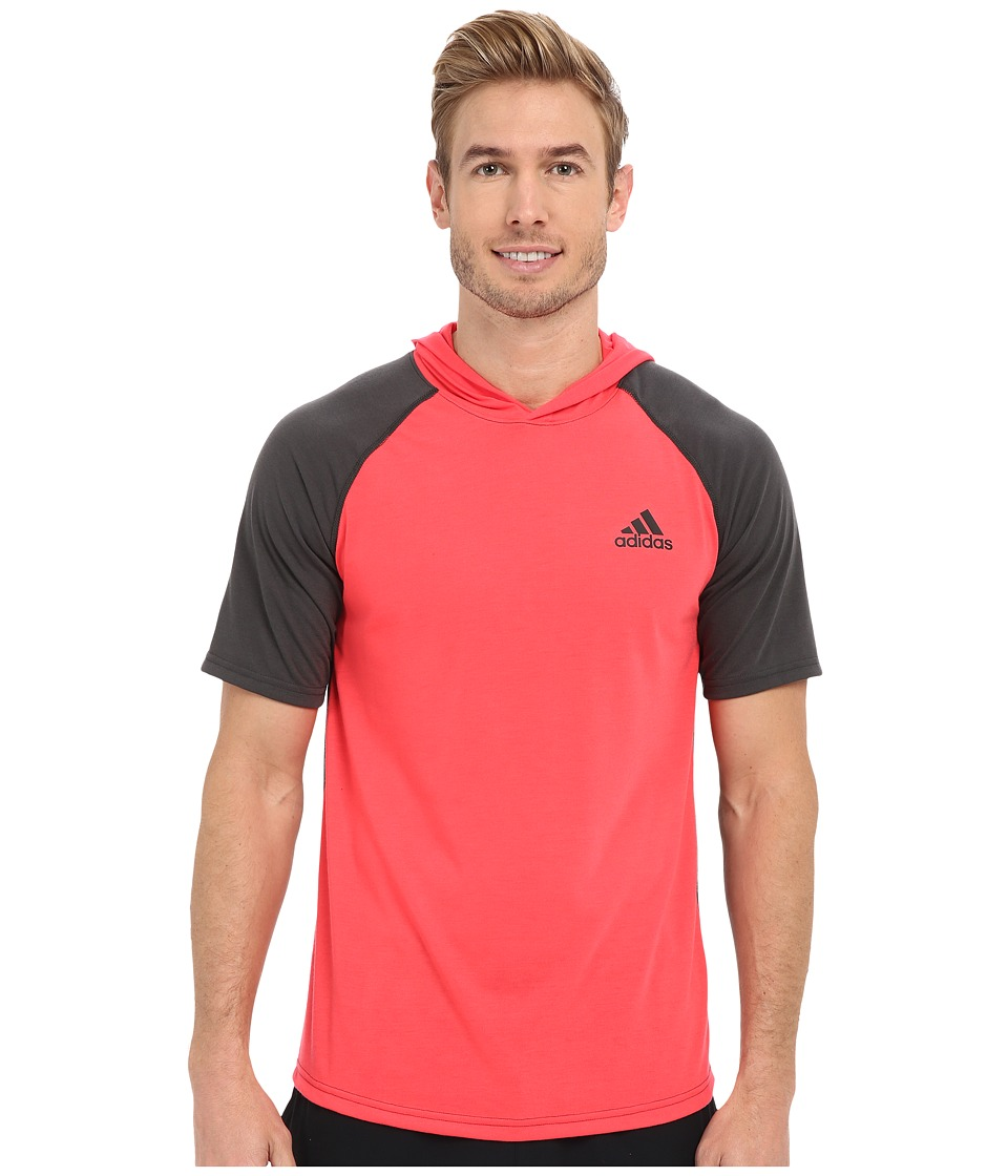 adidas - Ultimate Short Sleeve Hooded Tee (Shock Red/Dark Grey Heather/Black) Men's T Shirt