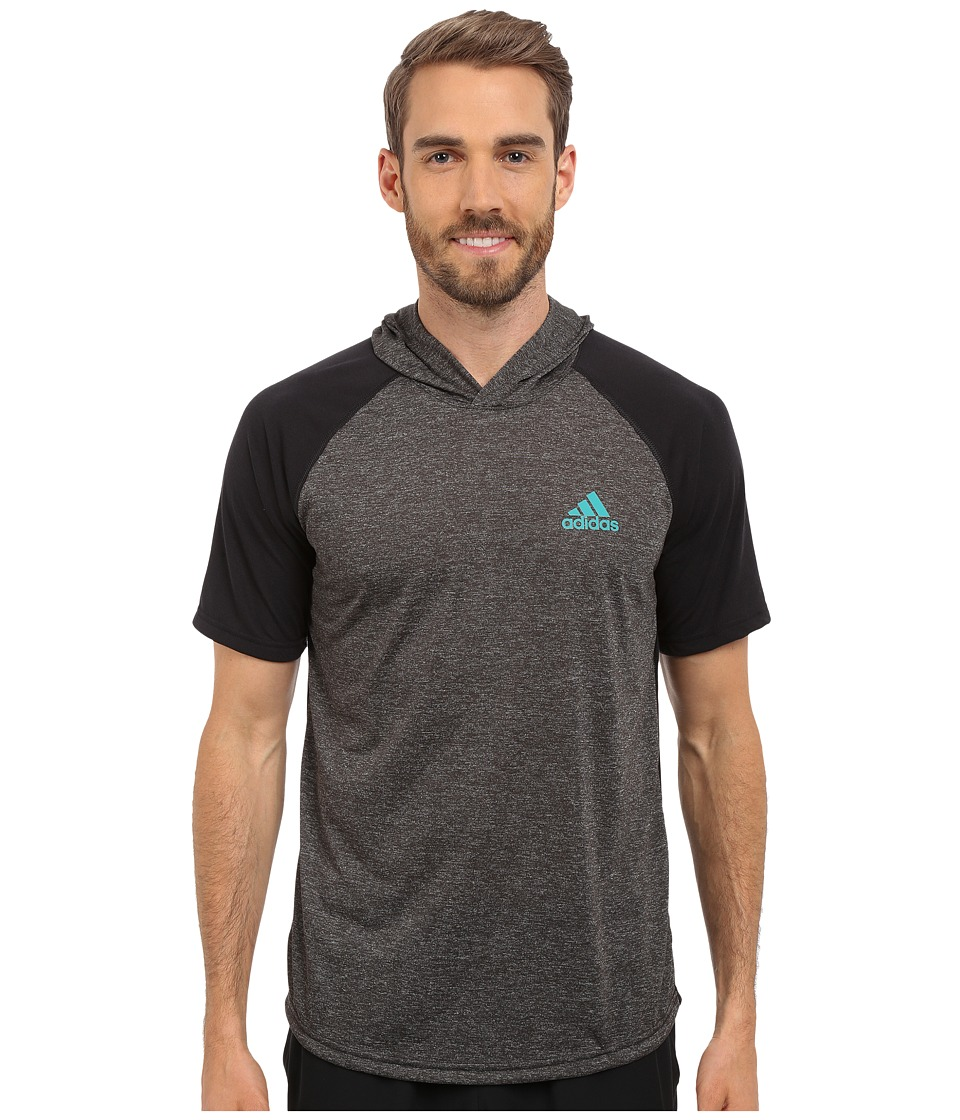 adidas - Ultimate Short Sleeve Hooded Tee (Dark Grey Heather/Black/EQT Green) Men's T Shirt
