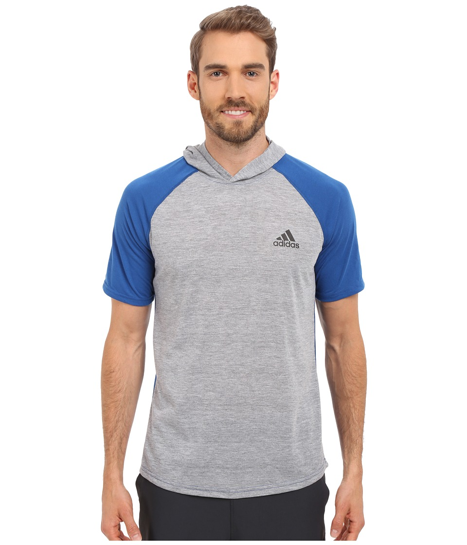 adidas - Ultimate Short Sleeve Hooded Tee (Medium Grey Heather/EQT Blue/Black) Men's T Shirt