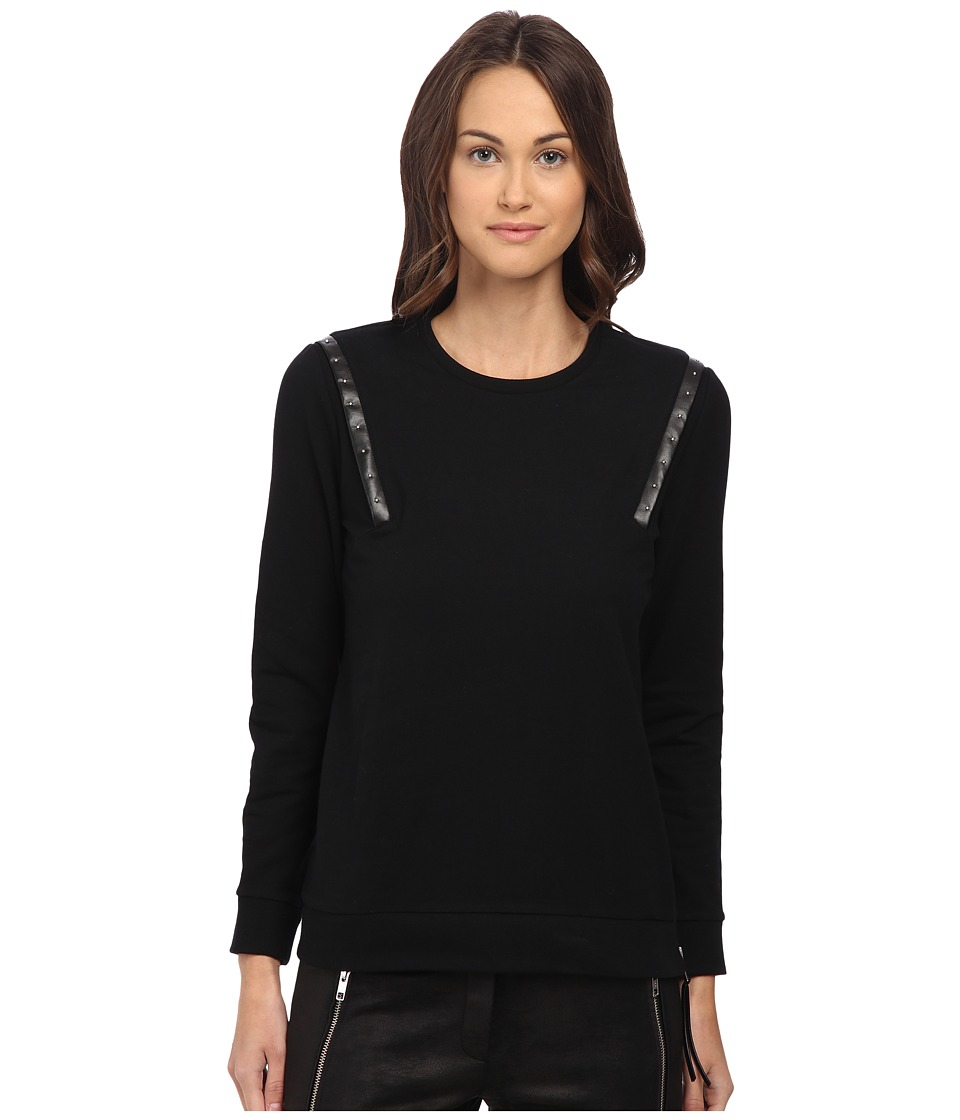 The Kooples - Fleece Sweatshirt with Leather Bands (Black) Women's Sweatshirt