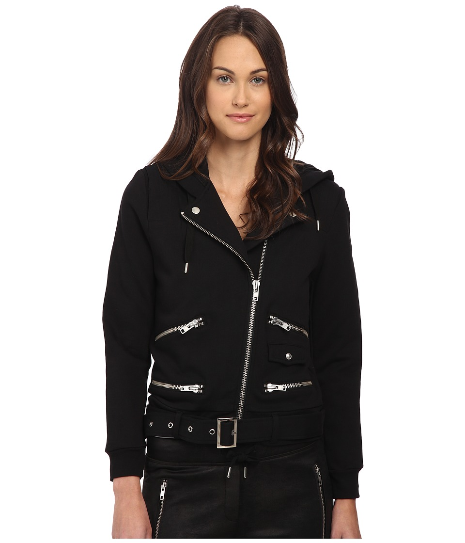 The Kooples - Biker Hooded Sweatshirt (Black) Women