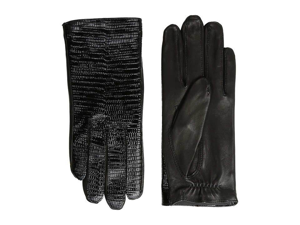 The Kooples - Lizard Embossed Patent Leather Gloves (Black) Extreme Cold Weather Gloves