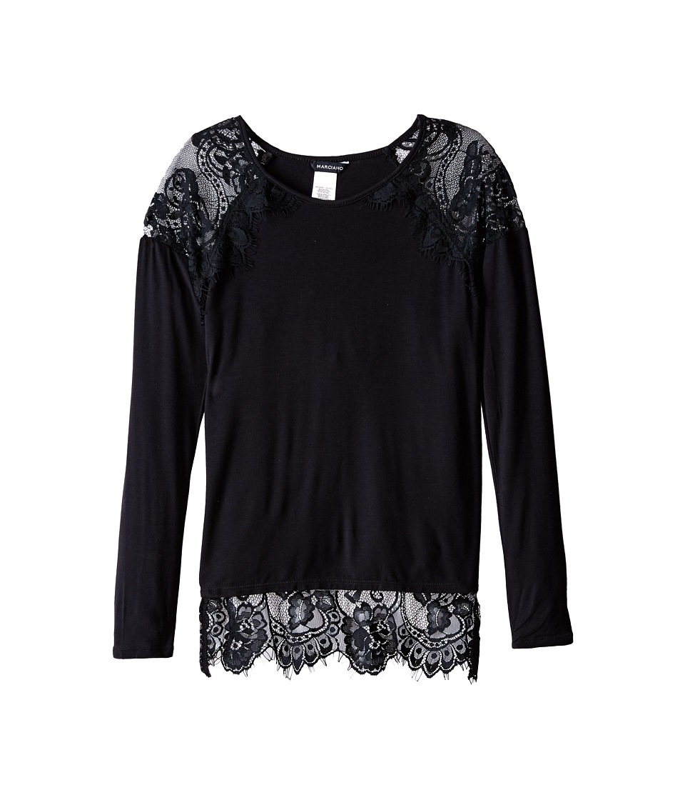 Marciano Kids - Lace Tunic Top (Big Kids) (Black) Girl's Blouse