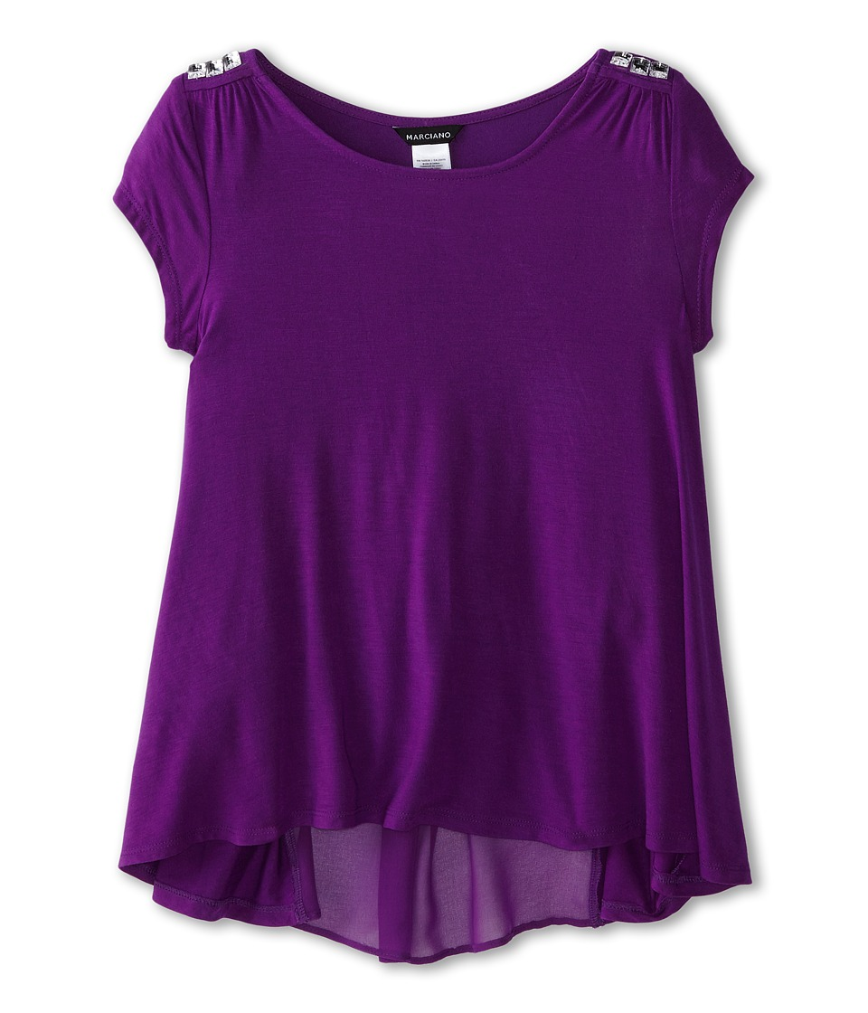 Marciano Kids - Rayon Jersey with Chiffon Top (Big Kids) (Purple) Girl