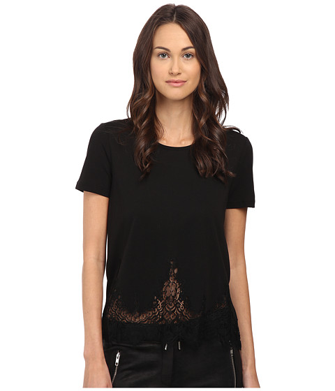 The Kooples - Short-Sleeved Jersey T-Shirt with Lace (Black) Women's T Shirt