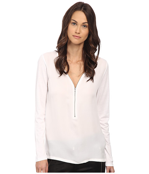 The Kooples - Long Sleeve T-Shirt with A Zip Neckline in Silk and Jersey (White) Women