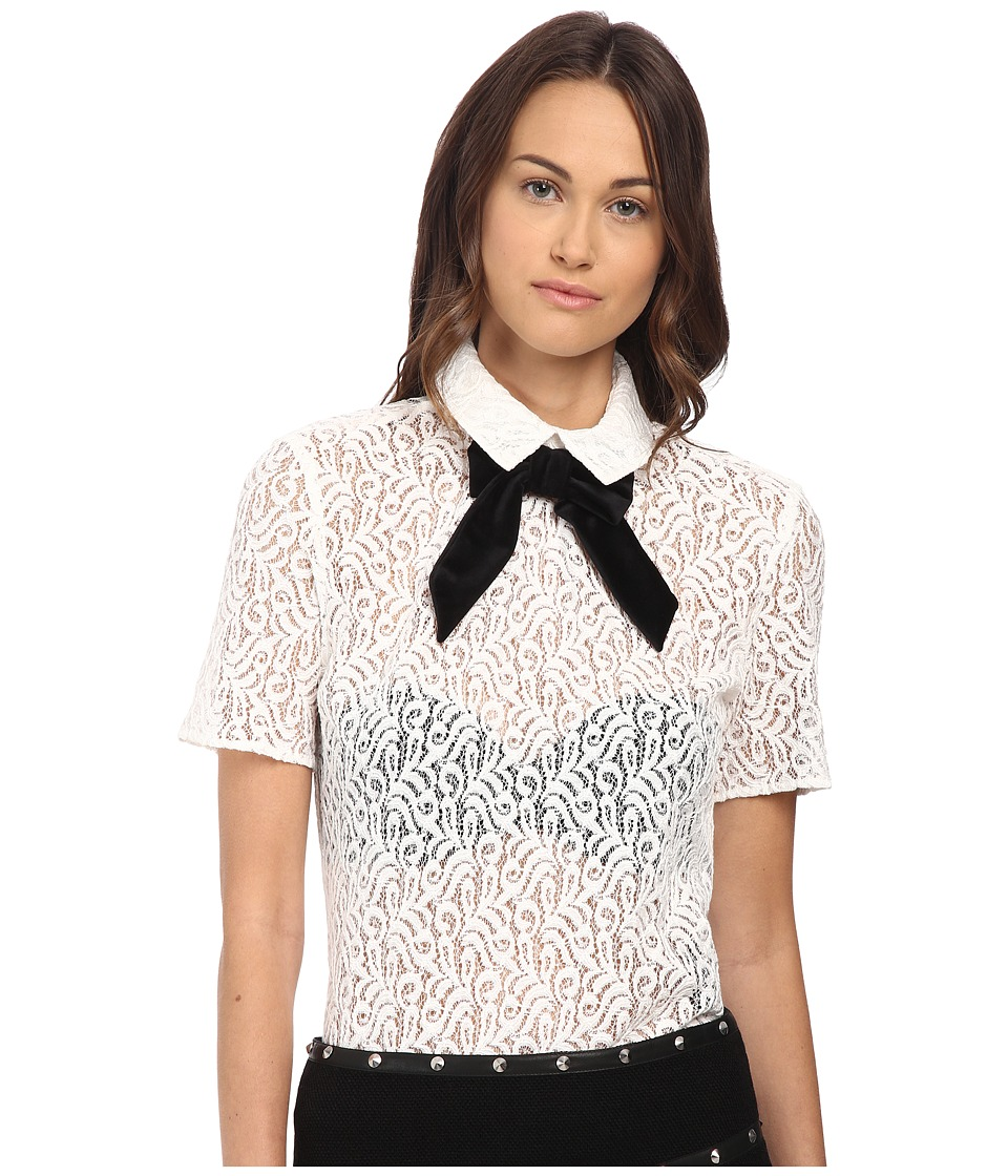 The Kooples - Lace Top with Velvet Bow (Ecru) Women's Short Sleeve Pullover
