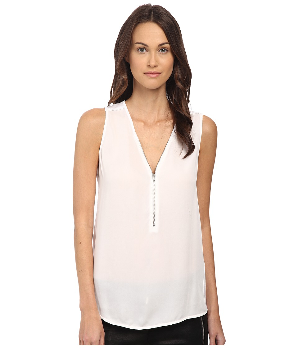 The Kooples - Tank Top with A Zip Neckline in Silk and Jersey (White) Women's Sleeveless