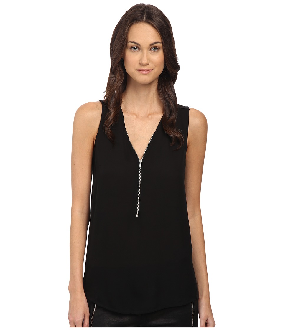 The Kooples - Tank Top with A Zip Neckline in Silk and Jersey (Black) Women's Sleeveless