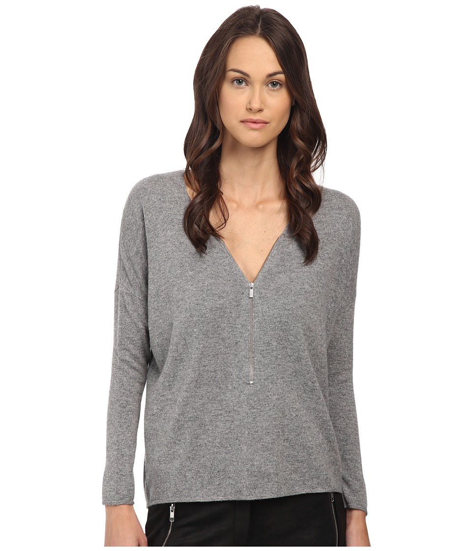 The Kooples - Wool and Cashmere Sweater with Zip Neck (Grey) Women