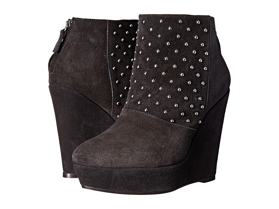 The Kooples - Ankle Boots in Velvet Effect Leather and Studs (Black) Women's Boots