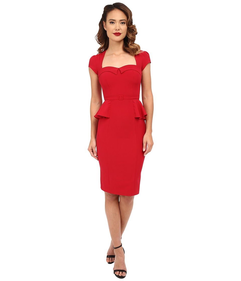 Stop Staring! - Audrey Fitted Dress (Red) Women's Dress