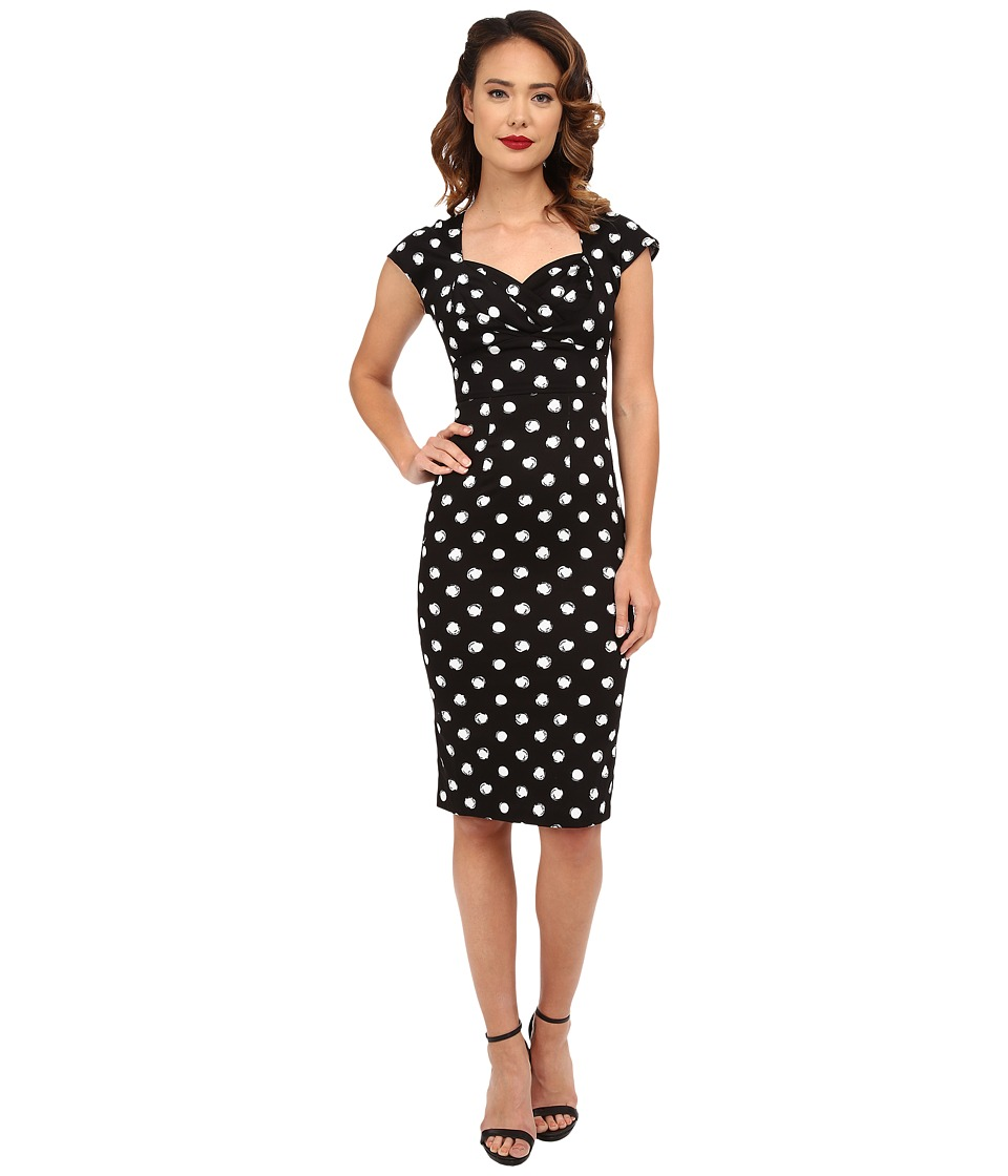 Stop Staring! - Maybel Fitted Dress (Black/White Polka Dots) Women's Dress