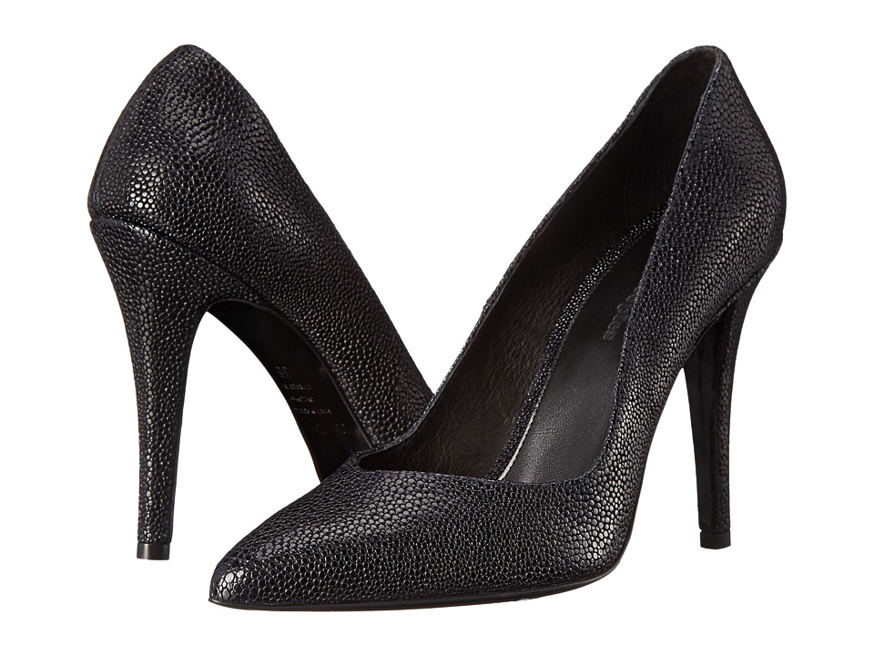 The Kooples - Shagreen Style Leather Pumps (Navy) High Heels