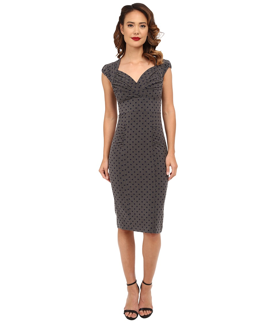 Stop Staring! - Esmee Fitted Dress (Grey/Navy Polka Dots) Women's Dress