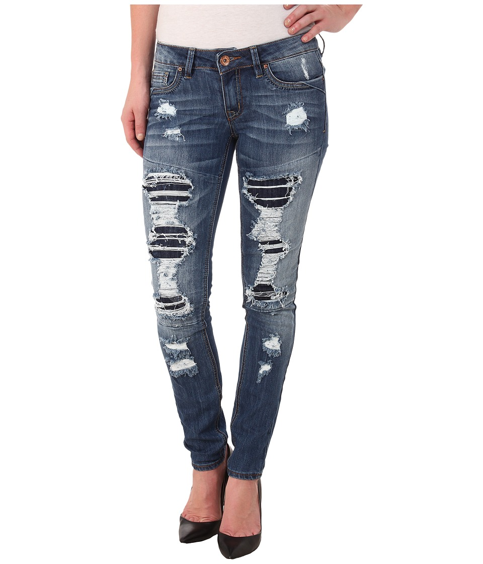 dollhouse - Parker Five-Pocket Rip And Repair Skinny Jeans in Dark Blue Wash (Dark Blue Wash) Women