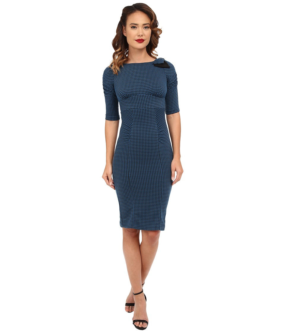 Stop Staring! - Karla Fitted Dress (Teal Houndstooth) Women's Dress