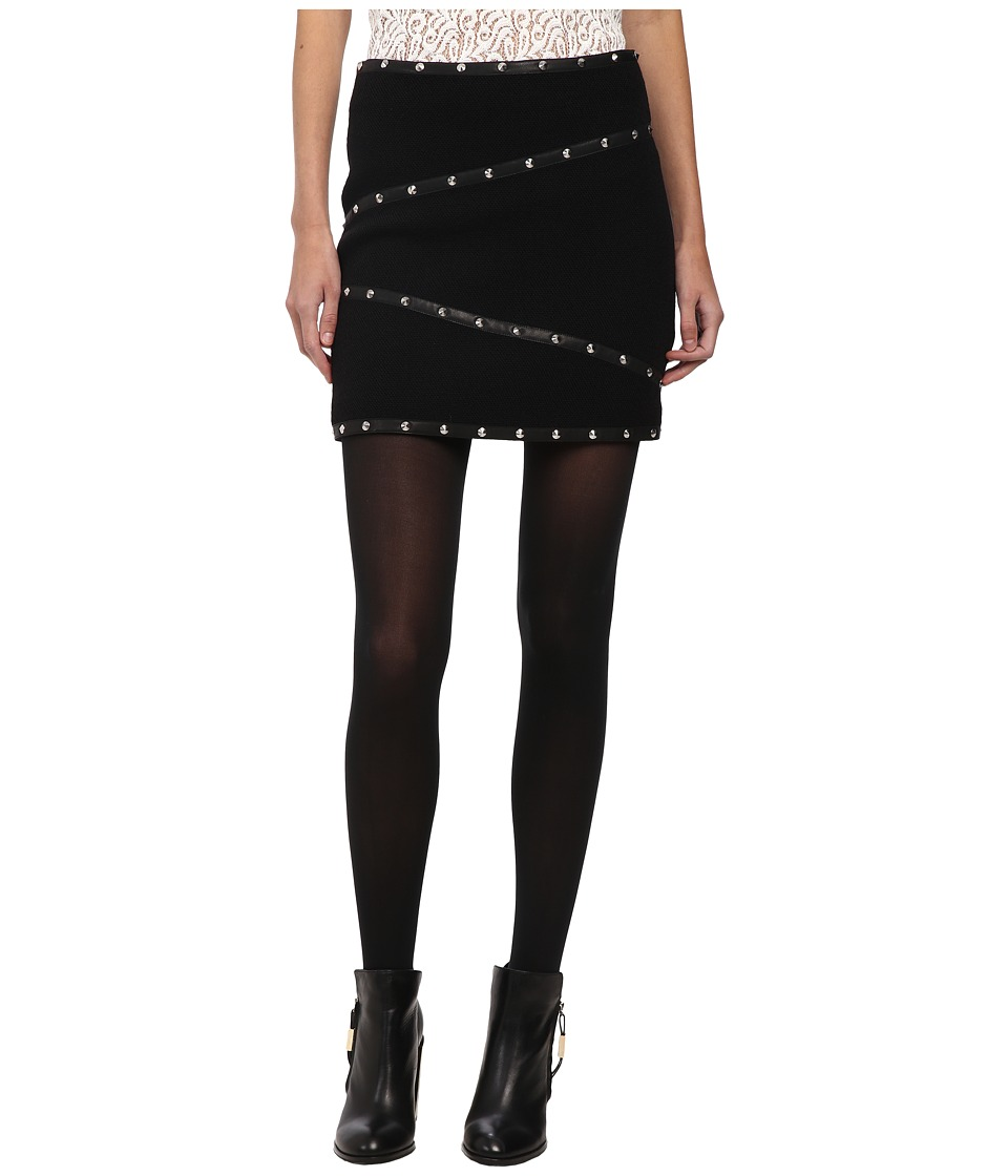 The Kooples - Short Skirt in Basket Weave Fabric with Stud Leather Ribbon Details (Black) Women's Skirt