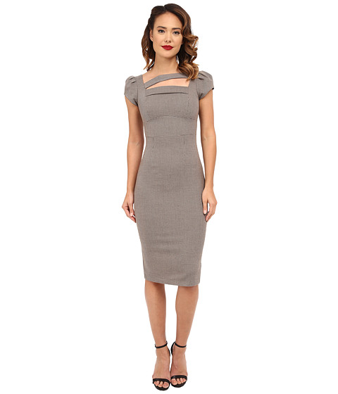 Stop Staring! - Milana Fitted Dress (Sand Houndstooth) Women's Dress