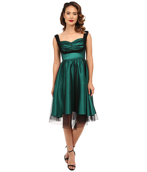 Stop Staring! - Esmerelda Swing Dress (Green Satin) Women's Dress