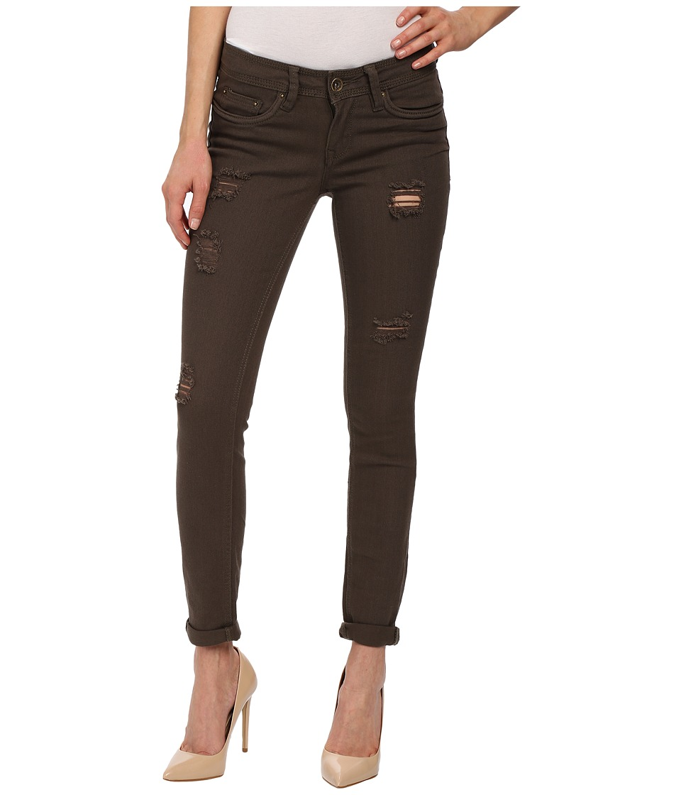 dollhouse - Moss Destructed Full Length Skinny with Roll Cuff Jeans in Green (Green) Women's Jeans