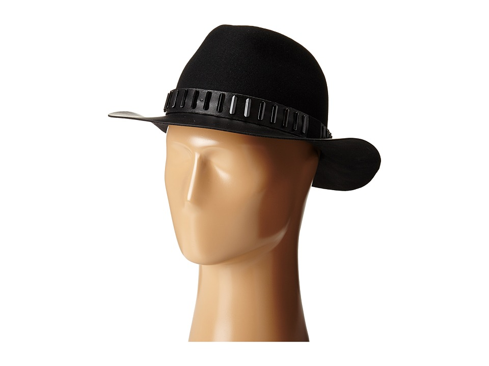 The Kooples - Felt Hat with Leather Edge (Black) Traditional Hats