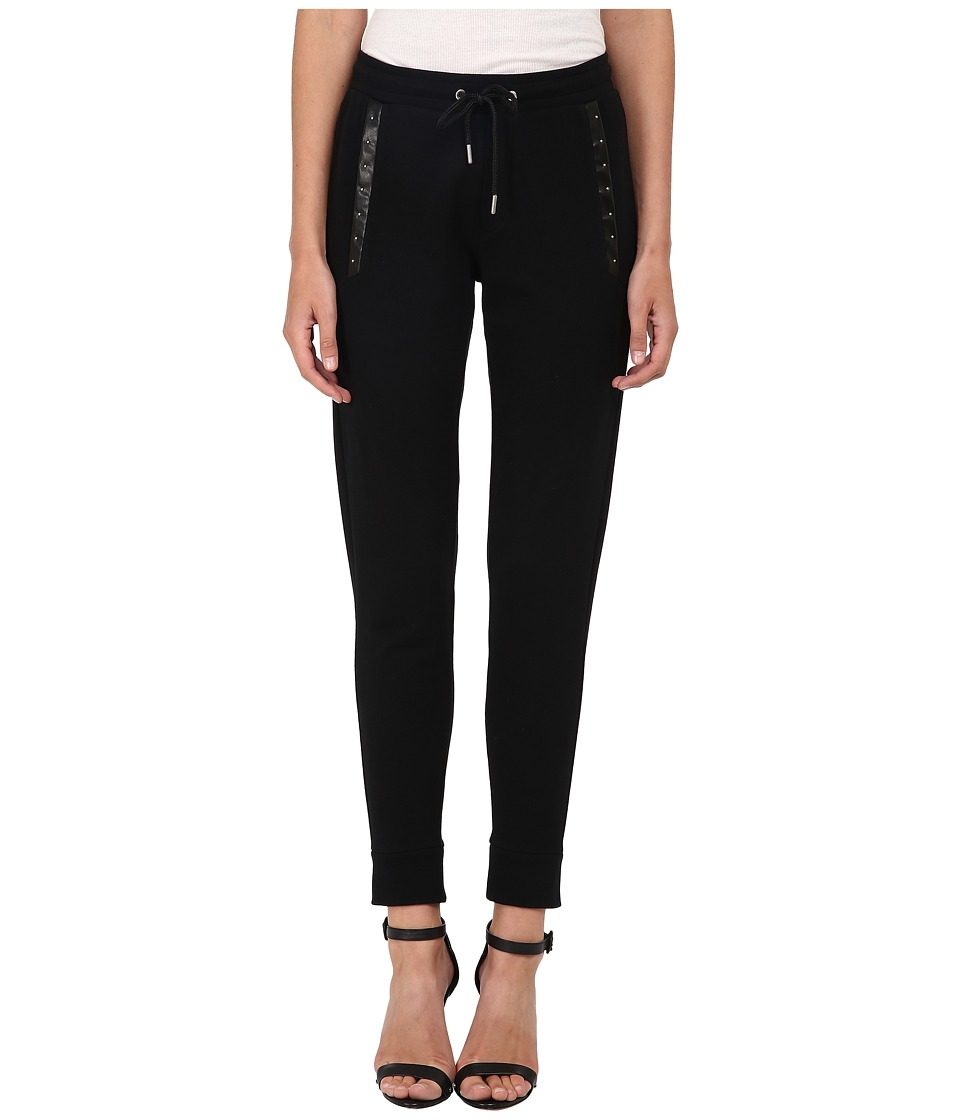 The Kooples - Trousers with Studs and Leather Bands (Black) Women's Casual Pants