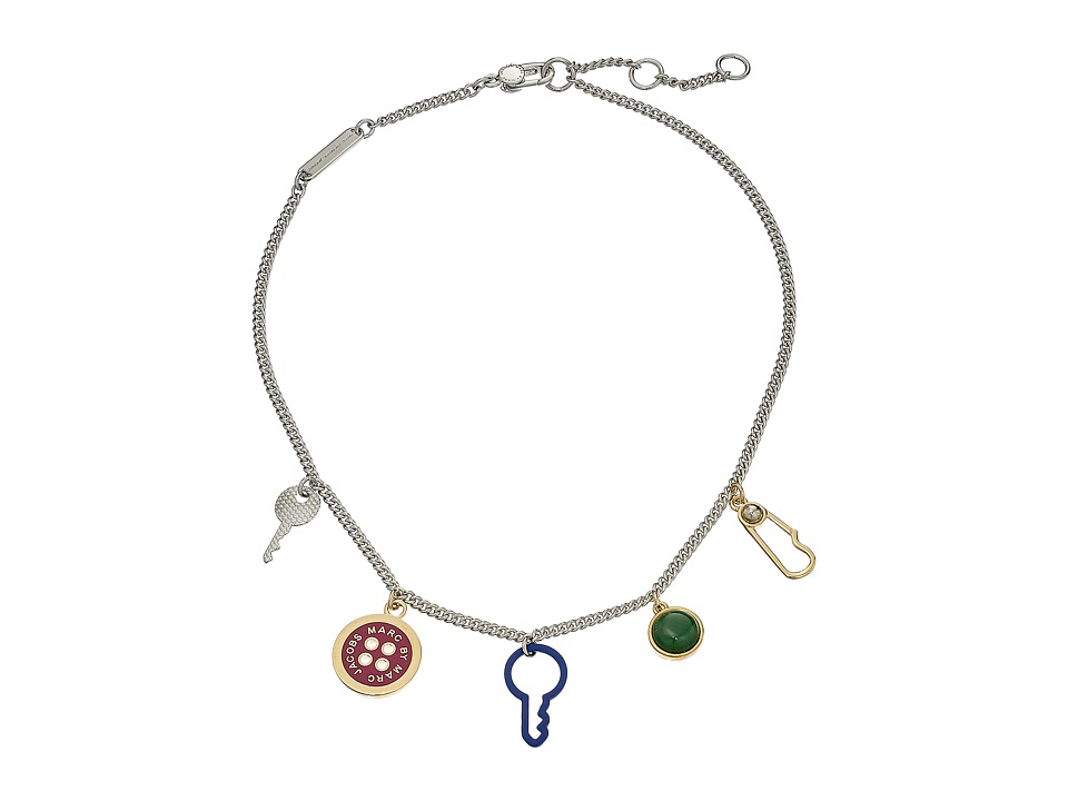 Marc by Marc Jacobs - Lost and Found Keys and Buttons Charm Necklace (Garnet Multi) Necklace