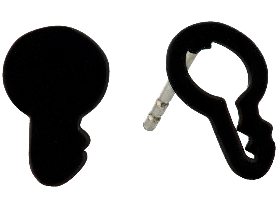 Marc by Marc Jacobs - Lost and Found Key Outline Stud Earrings (Black) Earring