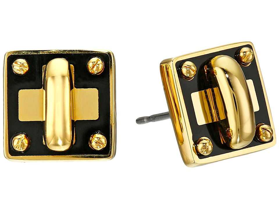 Marc by Marc Jacobs - Lost and Found Enamel Tiny Turnlock Stud Earrings (Black) Earring