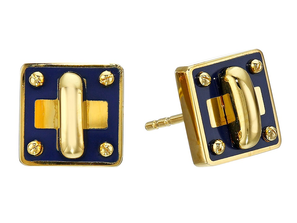 Marc by Marc Jacobs - Lost and Found Enamel Tiny Turnlock Stud Earrings (Sapphire) Earring