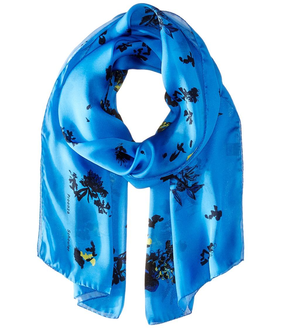Proenza Schouler - F00107 BSP107 21423 (Blue/Yellow Floral Print) Scarves