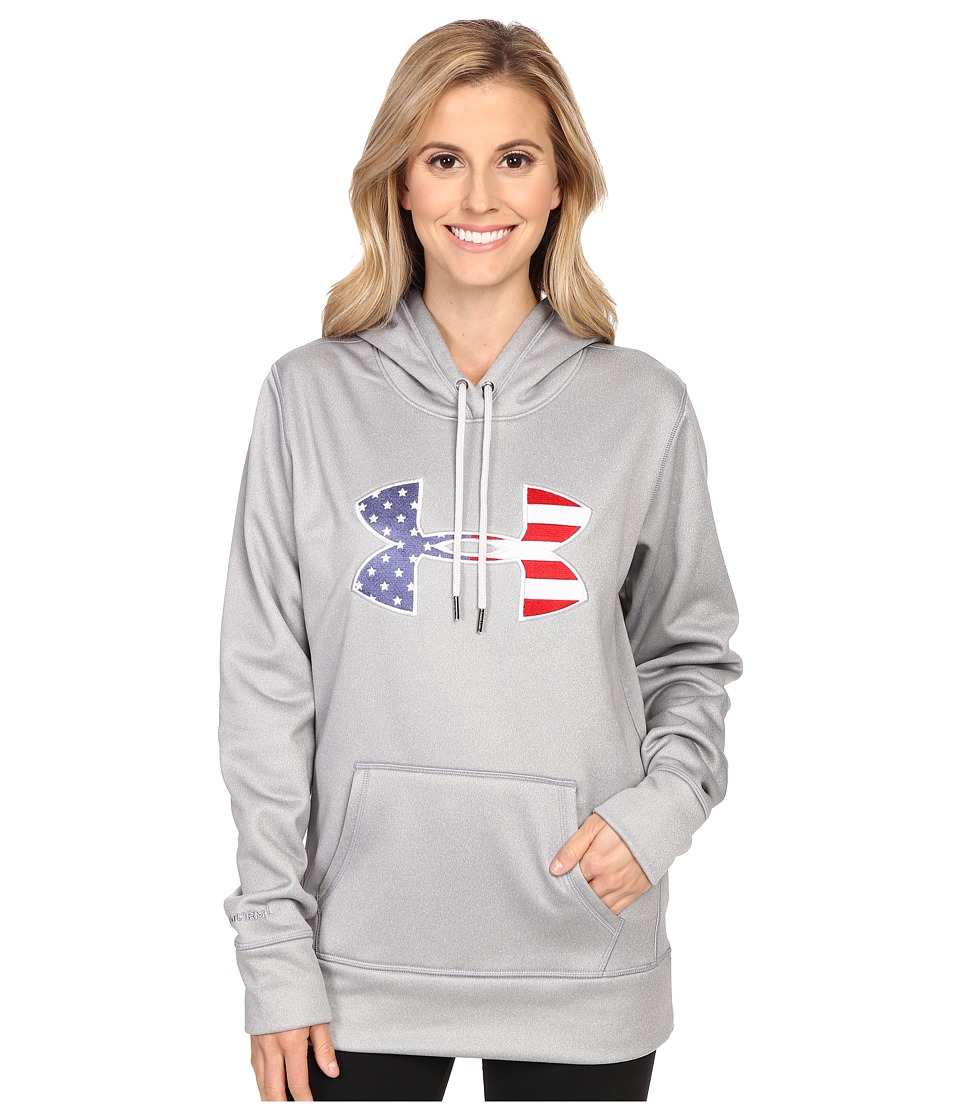 Under Armour - UA Armour Fleece Big Flag Logo Hoodie (True Gray Heather) Women's Sweatshirt