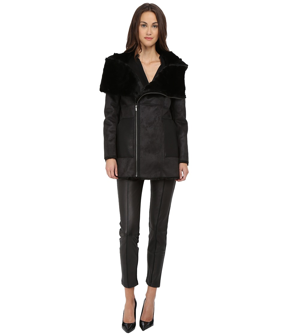 The Kooples - Bonded Fancy Leather Shearling Fur Jacket (Black) Women's Coat