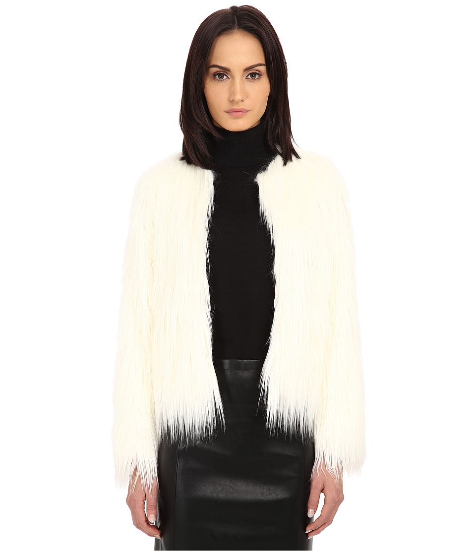 The Kooples - Fancy Faux Fur Jacket (Ecru) Women's Coat