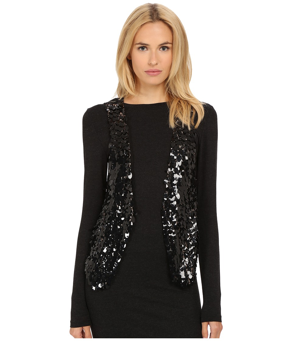 The Kooples - Veste Sans Manches En Melange De Sequins Jacket (Black) Women's Jacket