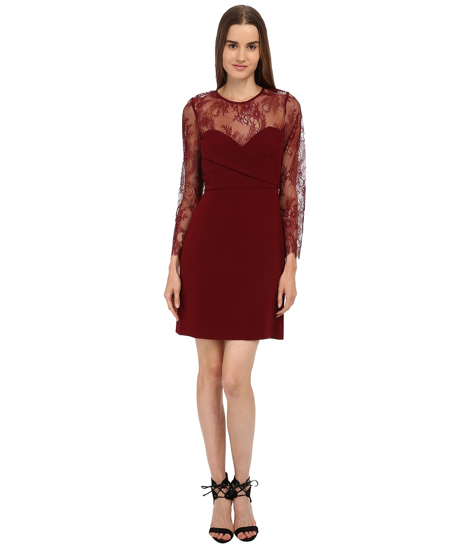 The Kooples - Crepe Openwork Lace Dress (Red) Women's Dress