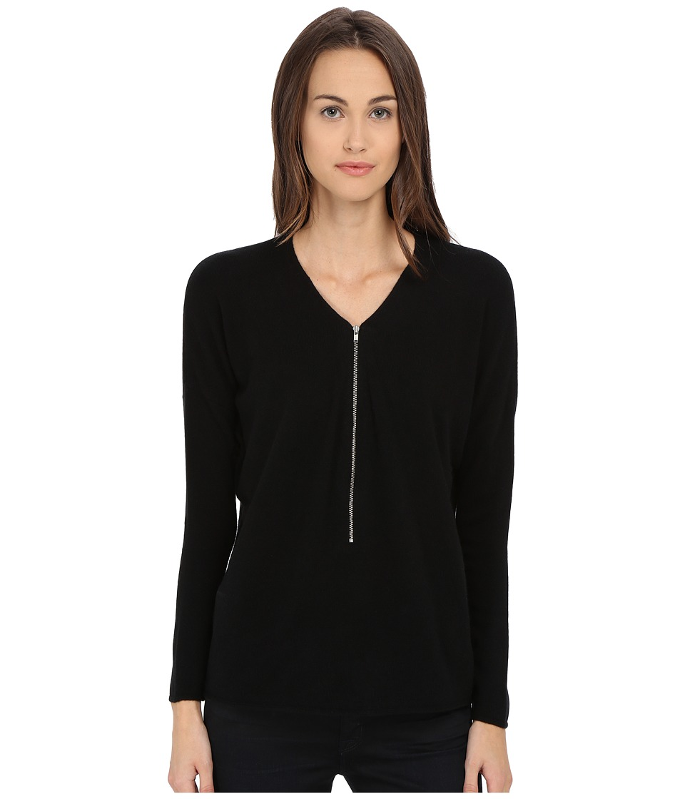 The Kooples - Wool and Cashmere Sweater with Zip Neck (Black) Women