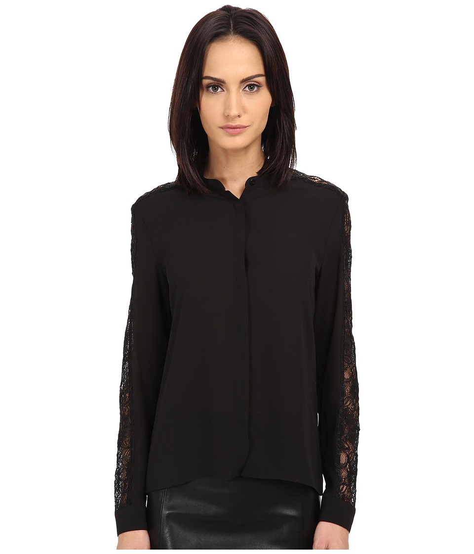 The Kooples - Crepe Laminated Lace Shirt (Black) Women's Clothing