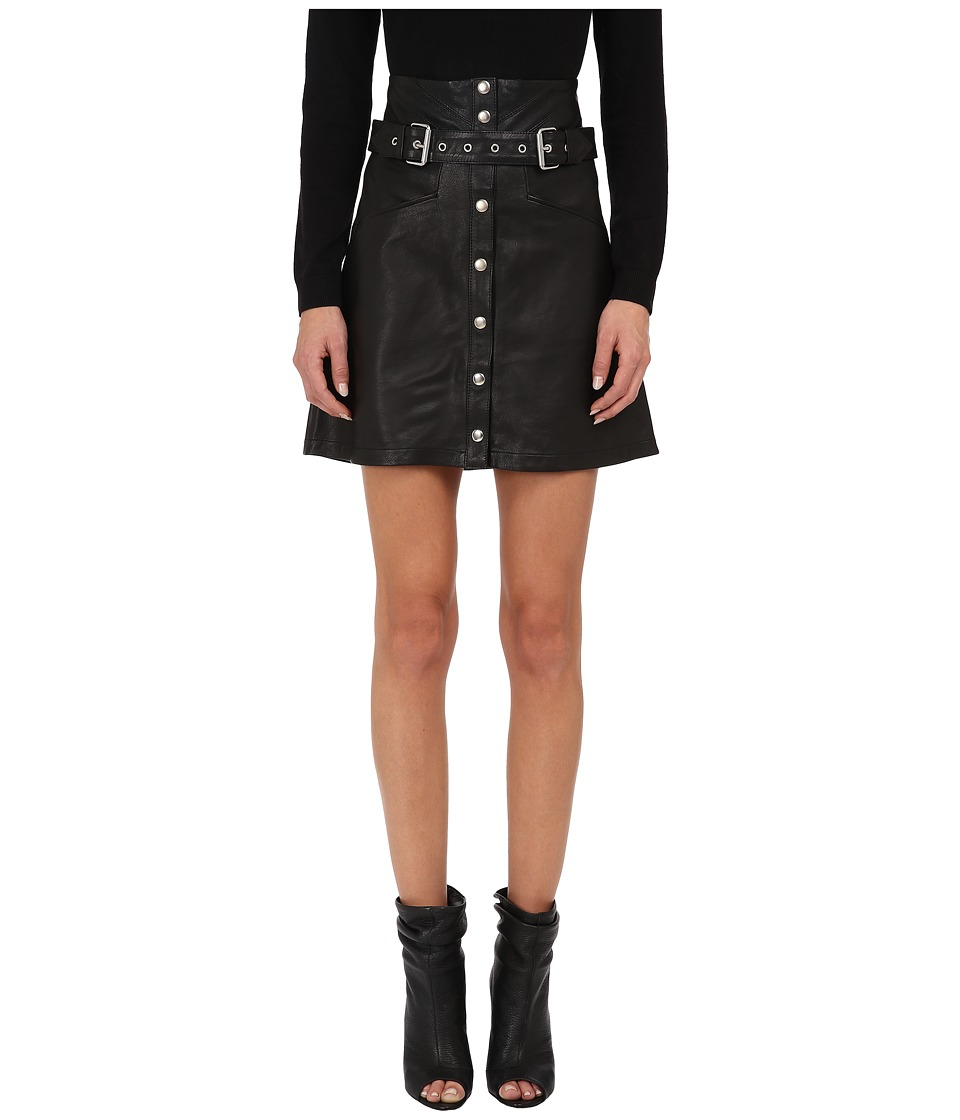 The Kooples - Skirt in Fine Lambskin Leather and Studs (Black) Women's Skirt
