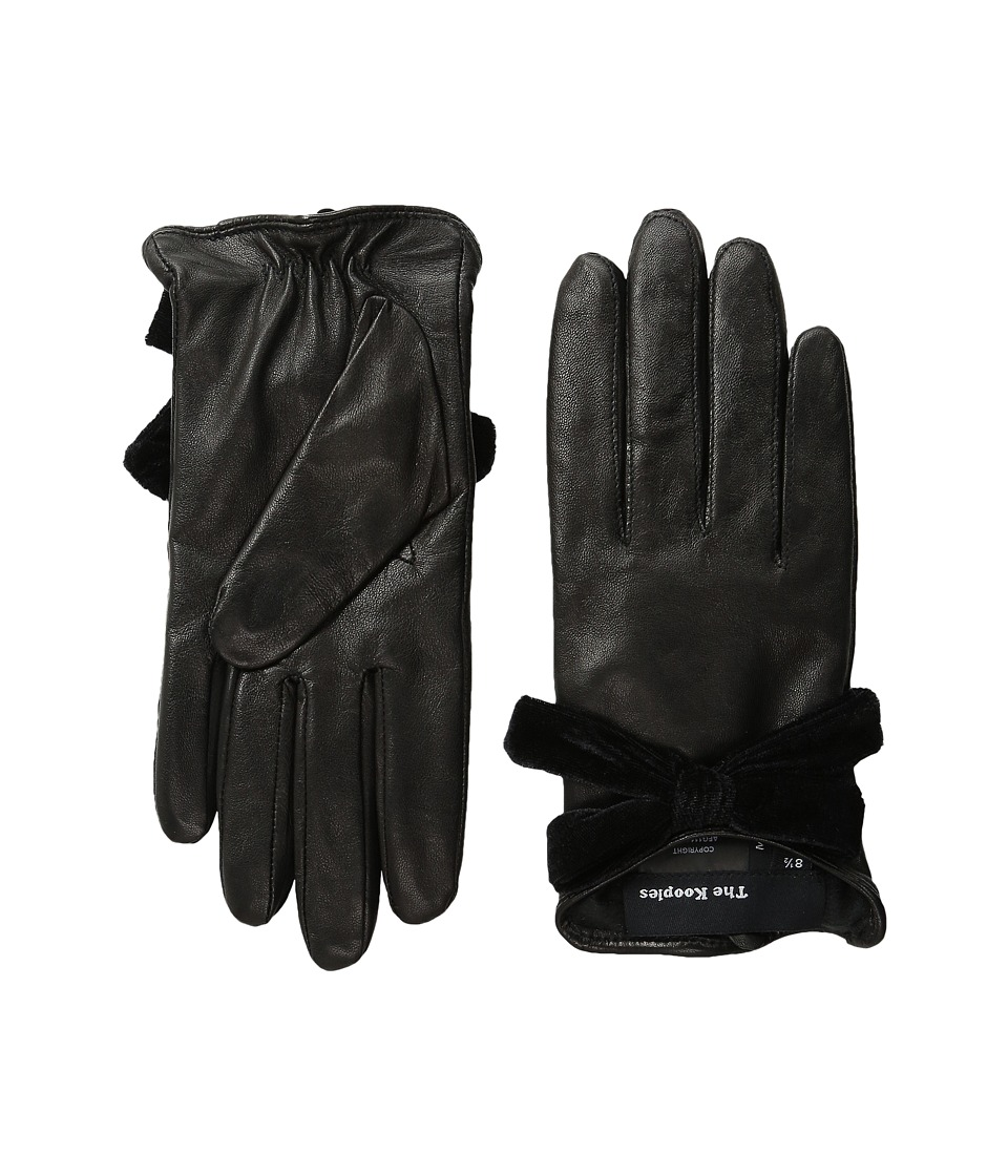 The Kooples - Smooth Leather Velvet Gloves (Black) Extreme Cold Weather Gloves