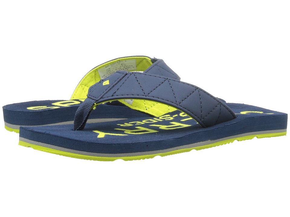 Sperry Kids - Topsail 3 (Little Kid/Big Kid) (Navy/Lime) Boys Shoes