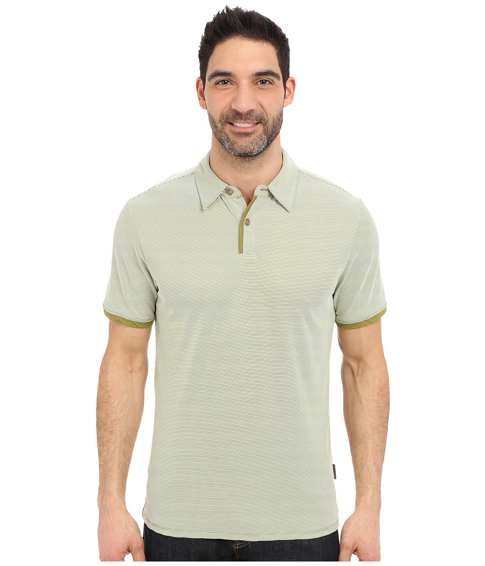 Royal Robbins - Desert Knit Micro Stripe Cricket (Spanish Moss) Men's Short Sleeve Knit