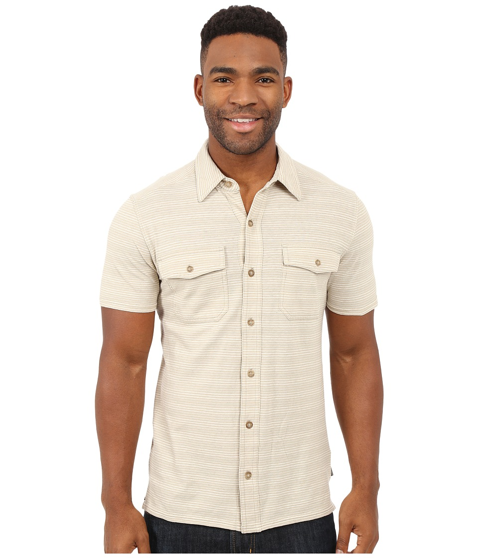 Royal Robbins - Breeze Thru Stripe Button Front Shirt (Light Khaki) Men's Short Sleeve Button Up