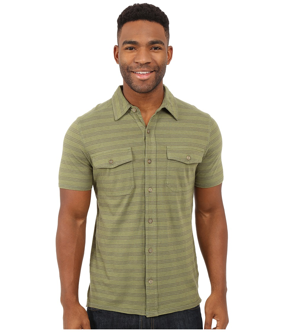 Royal Robbins - Breeze Thru Stripe Button Front Shirt (Aloe) Men's Short Sleeve Button Up